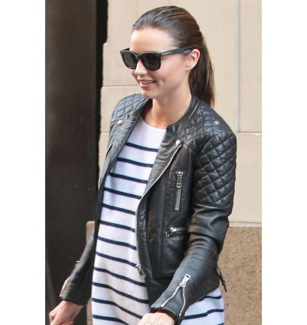 Miranda Kerr Quilted Biker Jacket Filmstaroutfits