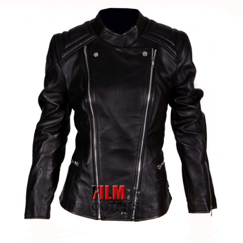 Abbey Clancy Ladies Black Leather Jacket