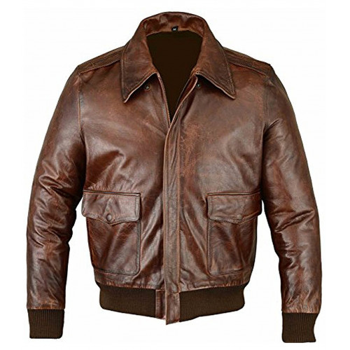 A2 Air Force Distressed Brown Real Leather Bomber Flight Jacket