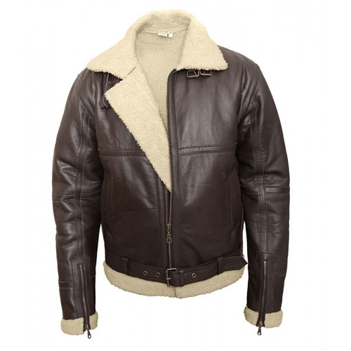 B3 Bomber Aviator Cream Shearling Leather Jacket