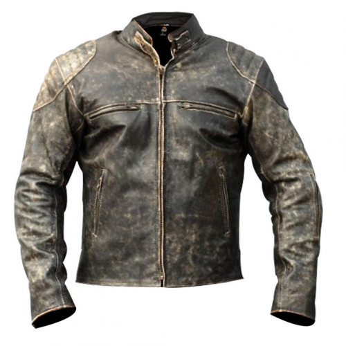 Men's Antique Vintage Distressed Retro Motorcycle Leather Jacket