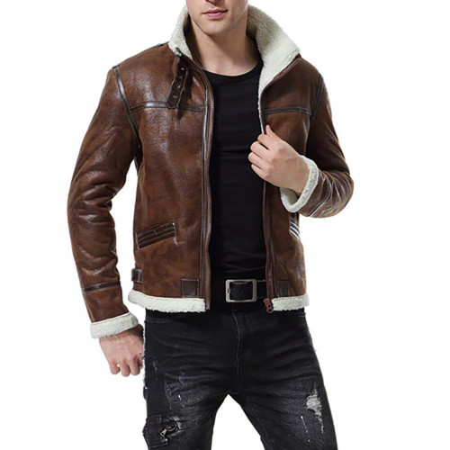 Men Bomber Style Brown Striped Shearling Leather Jacket