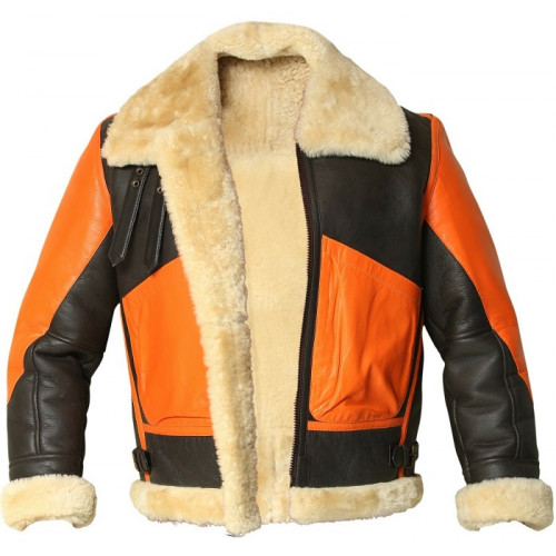 B3 Bomber Aviator Winter Shearling Two Tone Leather Jacket