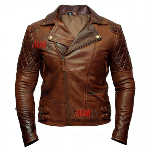 Classic Diamond Biker Distressed Leather Jacket