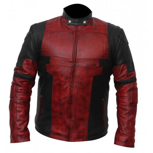 Ryan Reynolds Deadpool 2 Red and Black Waxed Leather Jacket