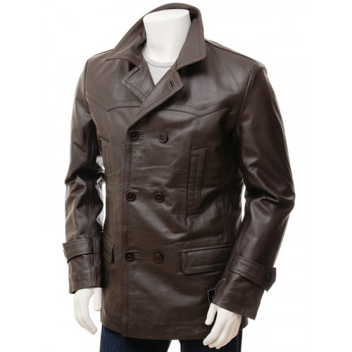 Dark Brown Double Breasted Mens 3/4 Length Coat