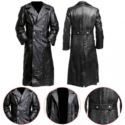 German Classic Officer Black Leather Long Coat