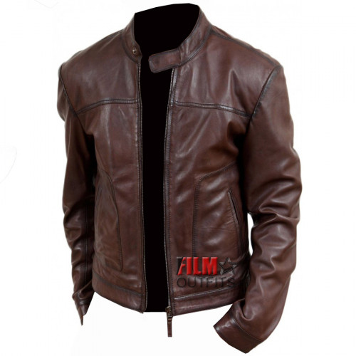Men's Casual Wear Brown Biker Style Jacket