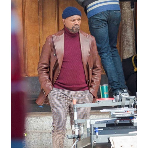 John Shaft 2019 Brown Leather Blazer