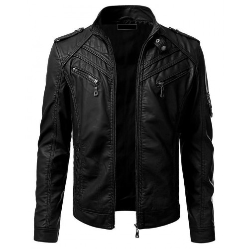 Mens Slim Fit Black Leather Biker Jacket