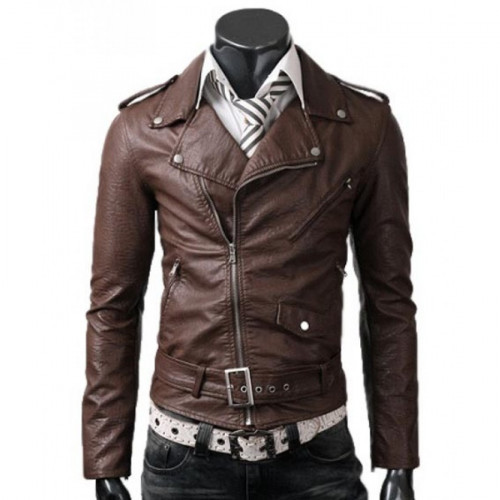 Men Slim Fit Belted Rider Brown Leather Jacket