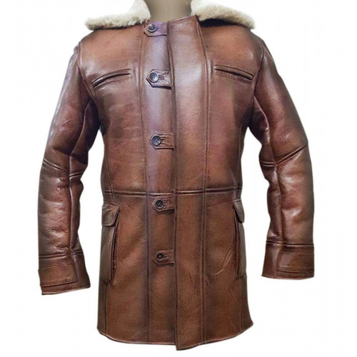Hardy Bane Leather Brown Shearling Coat Jacket