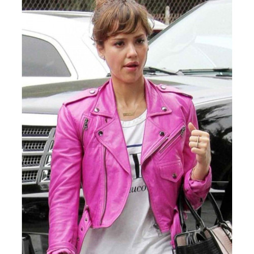 Women's Jessica Alba Pink Leather Jacket