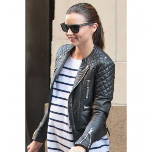 Miranda Kerr Quilted Biker Leather Jacket Sale