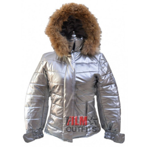 Caroline Channing Bomber Silver Puffer Jacket