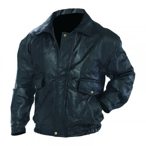 Men's Leather Motorcycle Bomber Jacket