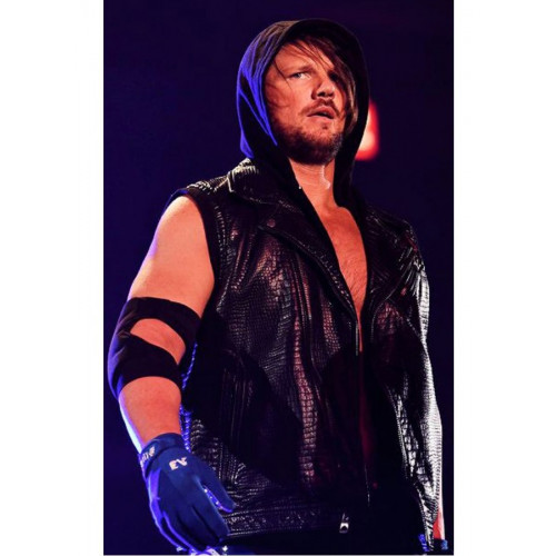 AJ Styles Hoodie Leather Vest From WWE
