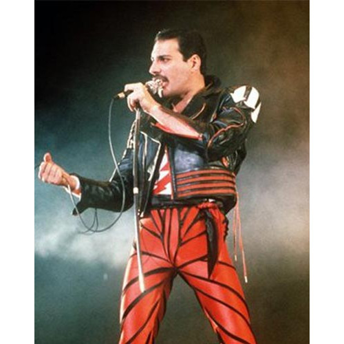 Freddie Mercury Leather Jacket In Red and Black