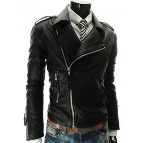 Slim Fit Mens Asymmetrical Black Leather Motorcycle Zipper Jacket