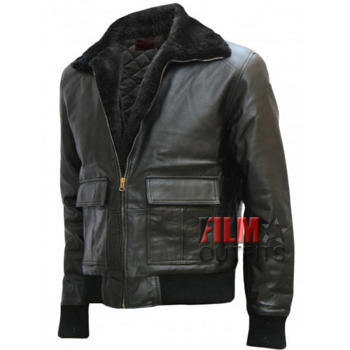 Brad Pitt Black Bomber Leather Jacket