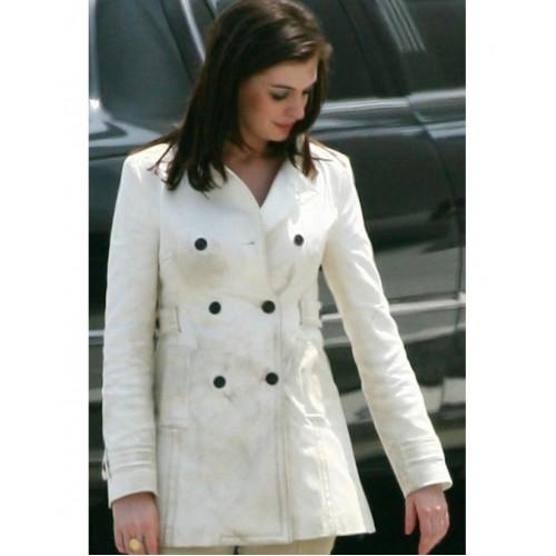 Anne Hathaway Get Smart: Anne Hathaway Get Smart White Leather Jacket