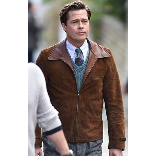 Brad Pitt Allied Max Vatan Brown Suede Jacket