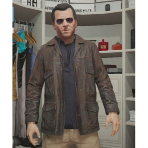 Michael Distressed GTA 5 Leather Jacket