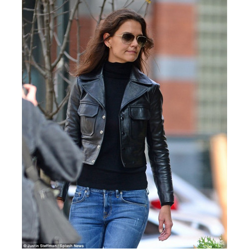 KATIE HOLMES IS VERY HAPPY RIGHT NOW LEATHER JACKET