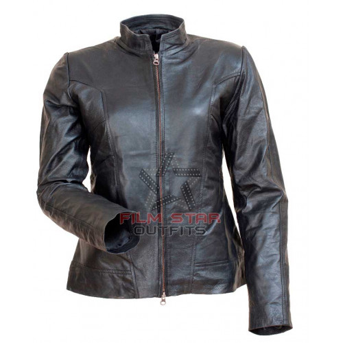 Angelina Jolie Comic Con Motorcycle Black Leather Jacket