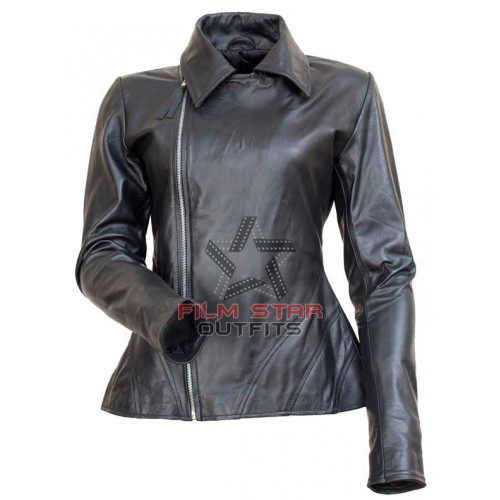 Anne Hathaway Fashion Show Black Biker Jacket for Women