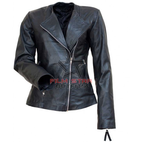Michelle Pfeiffe Collar Less Black Leather Jacket
