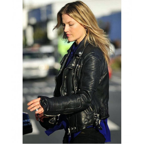 Ali Larter Prorsum Quilted Black Motorcycle Leather Jacket