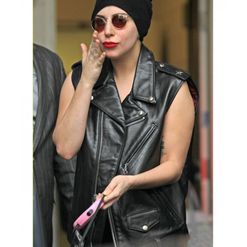 Lady Gaga Black Leather Vest