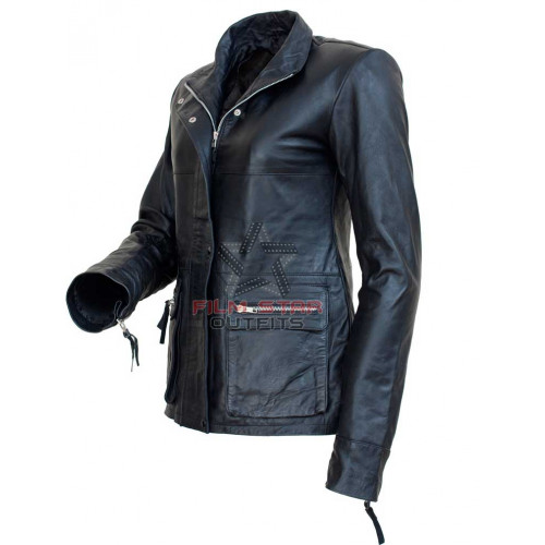 I Am Legend Anna Montez (Alice Braga) Black Leather Jacket
