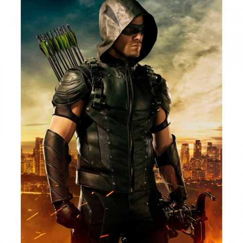 Lucifer Season 4 Cw: Stephen Amell Green Arrow Hooded Leather Vest