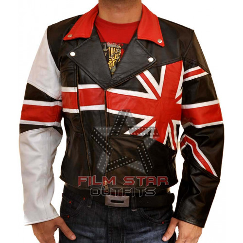 UK British Flag Slim Fit Motorcycle Leather Jacket