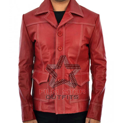 Fight Club Brad Pitt (Tyler Durden) Leather Red Jacket
