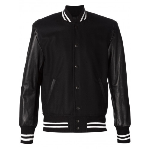 Mens Leather Sleeves Black Bomber Jacket