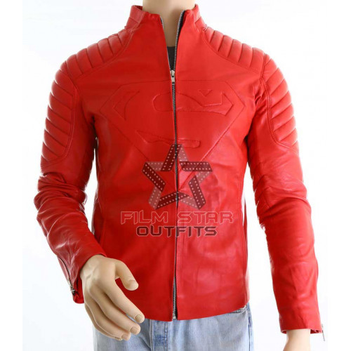 Superman Smallville Red Leather Jacket For Mens
