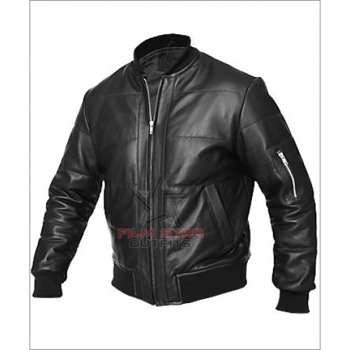 Men's Vintage Black Bomber Leather Jacket