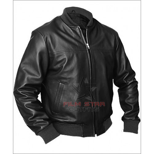 Men's Black Neron Bomber Leather Jacket