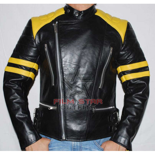 Brando Biker Yellow & Black Leather Jacket