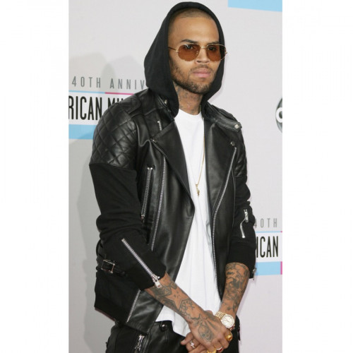 Chris Brown Black Quilted Leather Jacket
