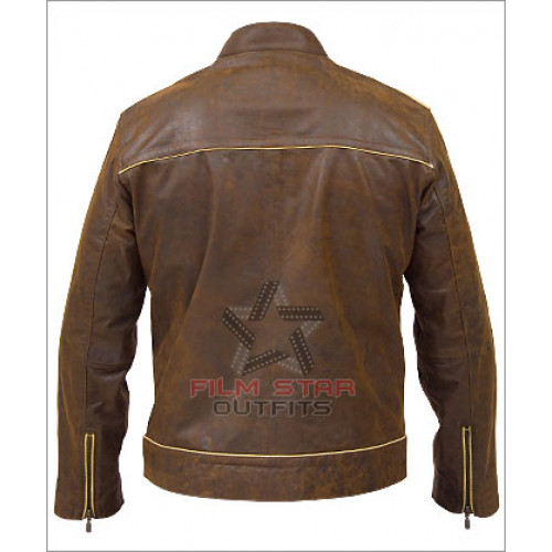 Copper Striped Vintage Distressed Leather Jacket ...