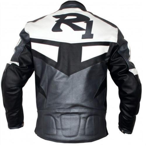 Yamaha r1 grey white biker racing jacket for Yamaha r1 motorcycle jackets