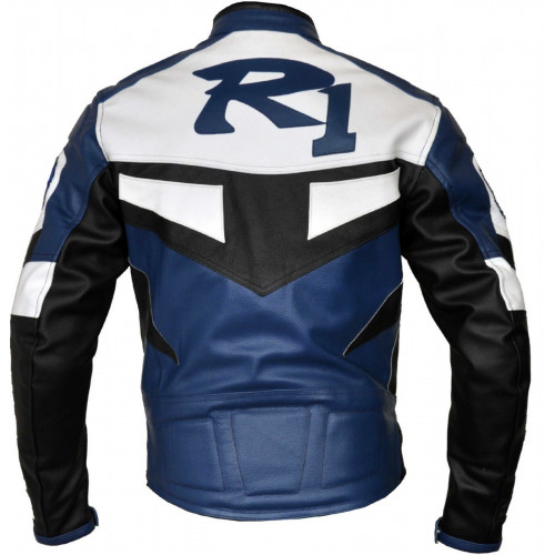 r1 yamaha blue white motorcycle jacket